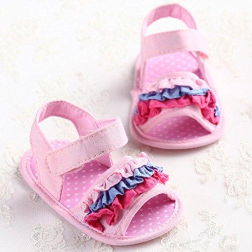 Clode® Bébé Filles Fleurissent Souple Semelle Anti-dérapant Baby espadrilles sandales (0~ 6 mois, Rose) Rose