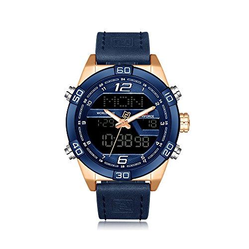 NAVIFORCE Uhr Quarz Armbanduhr Herren echte Leder Uhr LED Anzeigen Uhr