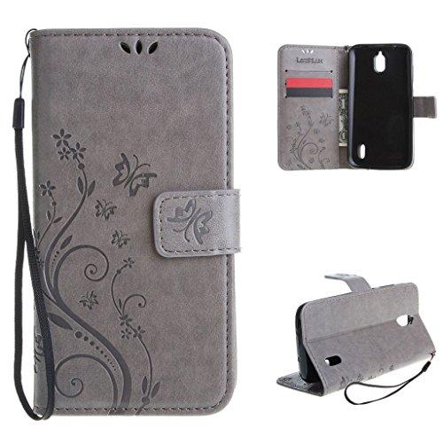 Leathlux Für Huawei Y625 Hülle Grau , Vintage Blume Muster Premium PU Leder Schutzhülle Bookstyle Tasche Schale TPU Case mit Trageschlaufe Standfunktion für Huawei Y625