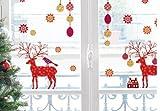 Weihnachten - Rentiere Und Eisblumen Aufkleber Poster-Sticker Für Fenster (36 x 24cm)