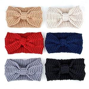 6PCS Women's Headband Fashion Knitted Bow Hair Band Head Wrap