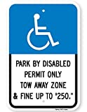 Eugene49Mor Park by Disabled Permit Only Tow Away Zone & Fine Sign. 3M Warnschild, Hohe Intensität, Reflektierend, Blau auf Weiß, 30,5 x 45,7 cm Von