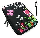Emartbuy® Schwarz Stylus + Mitternachts Schmetterling Jungle Wasser Resistant Neoprene Weich Zip Case Cover Tasche Hülle Sleeve Für I.onik TP - 1200QC 7.85 Inch Tablet (8 -Zoll-Tablet)