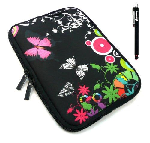 Emartbuy® Archos 80 Cesium 8 Zoll Windows Tablet Schwarz Eingabestift + Mitternacht Schmetterling Dschungel Wasserfest Neopren weich Zip Tasche Hülle Sleeve ( 8 Zoll Tablet )