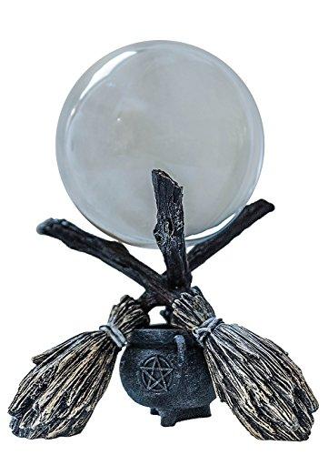 Kristallkugelset Drei Besen + 12cm Kristallkugel
