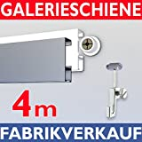 Galerieschienen Bilderschienen Komplett Set weiß – Länge 4 Meter, Bilder Aufhängesystem erweiterbar