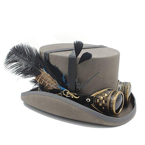 JiuRui Hüte und Mützen Festival Kostüm Set Männer Frauen schwarzer Hut mit Brille Steampunk Zylinder viktorianischen Hochzeit Hut brennende Männer Cosplay Nussknacker Festival Hut