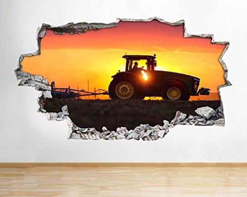 tekkdesigns H576Farm Traktor Schneepflug Sunset zerstörten Wand Aufkleber 3D Kunst Aufkleber Vinyl Zimmer (Medium (52x 30cm))