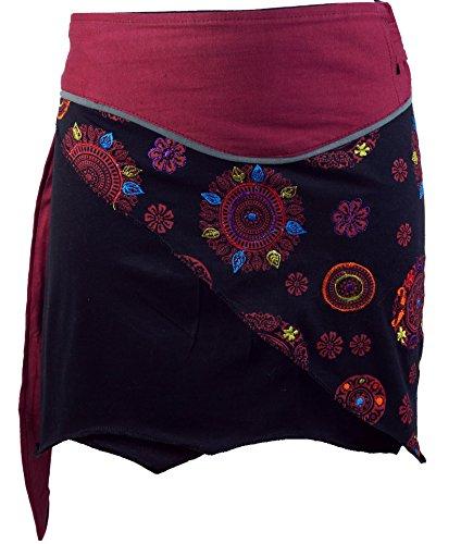 Guru-Shop Minirock Boho Chic, Wickelrock, Damen Rock, Cacheur, Bordeaux, Baumwolle, Size:40, Kurze Röcke Alternative Bekleidung -