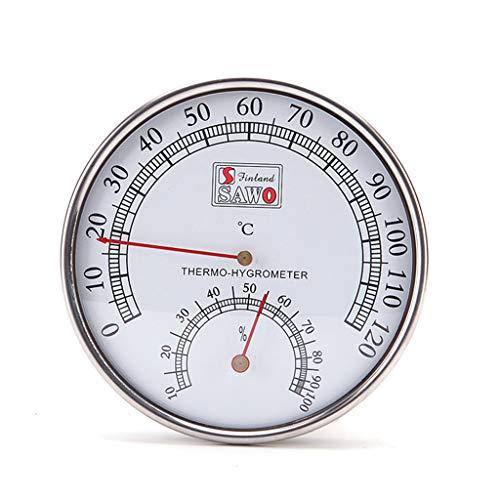 Qiulip Saunathermometer, Metallgehäuse, Dampfsaunaraum-Thermometer, Hygrometer, Bad und Sauna Indoor Outdoor -