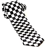 Mens Black & White Check Chequered SKA Polyester Skinny Neck Tie by Wicked Fun