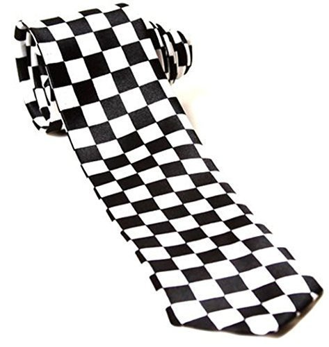 Mens Black & White Check Chequered SKA Polyester Skinny Neck Tie