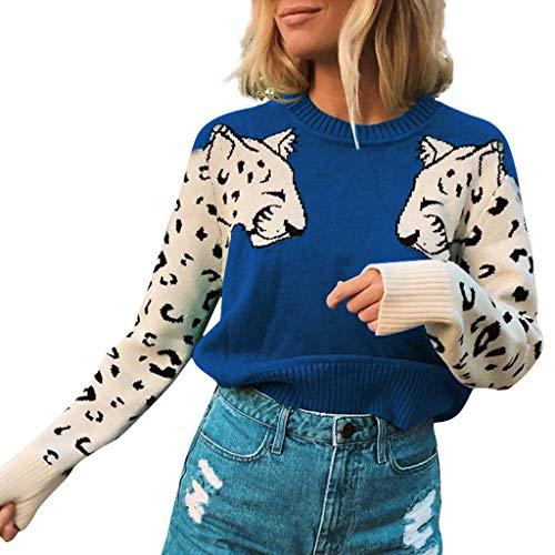 ღLILICATღ Suéter de Punto con Estampado de Leopardo y Cuello en V para Mujer Jersey Suelto Camisa Tops Pullover de Manga Larga