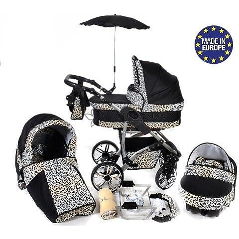 Baby Sportive - Sistema de viaje 3 en 1, silla de paseo, carrito con capazo y silla de coche, RUEDAS GIRATORIAS, parasol y accesorios, color negro, leopardo