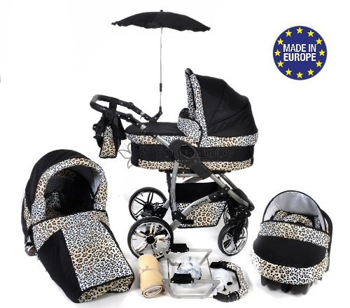 Twing, 3-in-1 Travel System with Baby Pram, Car Seat, Pushchair & Accessories (3in1 Travel System -Baby tub, Sport seat, Car seat, Black & Leopard) 51tmLSmEPTL