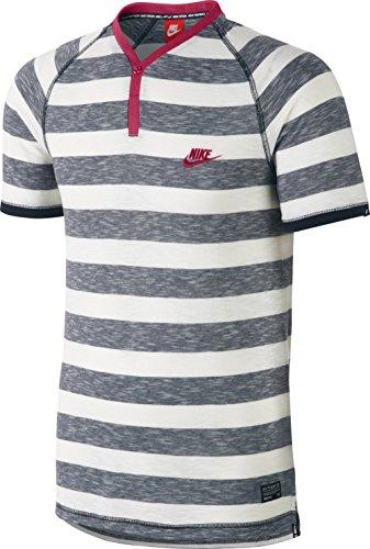 Nike Herren T-Shirt Y-Neck Henley Stripe, Weiß/Grau, S, 634509-475-S (Max Weiß Herren Air 2014 Nike)