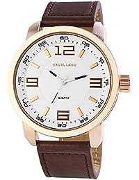 Excellanc  - Reloj de cuarzo para hombre, correa de diversos materiales color marrón