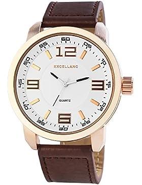 Excellanc Herren-Armbanduhr XL Analog Quarz verschiedene Materialien 295032000148