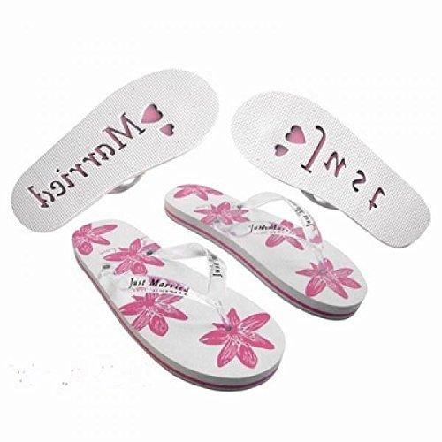 Infradito da donna per viaggio di nozze, motivo rosa e bianco floreale, numero 36-38