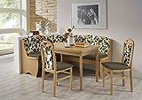 Schlawo Truhen-Eckbankgruppe Vorau - Buche Natur - 2 Stühle 1Tisch ausziehbar - Bezug braun - variabel aufbaubar