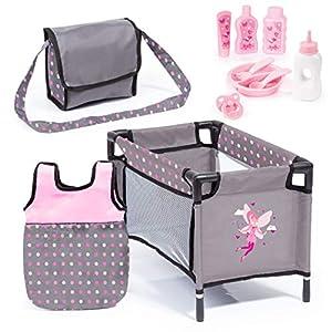 Bayer Design- Accesorios para muñecos bebé, 11 en 1, Kit Cuna de viaj, Saco de Dormir, Bolsa Bandolera y Productos de Cuidado, Color Gris, Rosa con Hada (61766AB)
