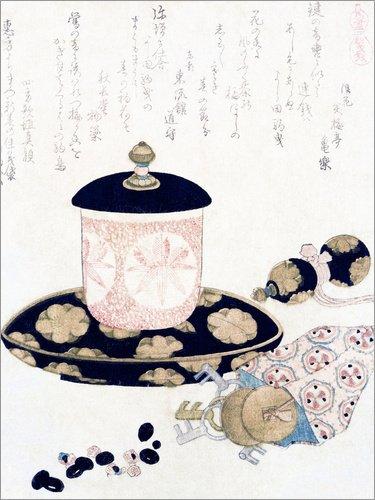 Holzbild 30 x 40 cm: Eine Kanne Tee und Schlüssel von Katsushika Hokusai / Bridgeman Images