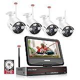 Système de Sécurité Caméra sans Fil, SMONET NVR 1080P 8 CH Enregistreur 4 * 960P Caméra + 1 * 1HDD + 1*Moniteur Kit Video Surveillance Exterieur Camera Surveillance WiFi par l'App Accès à Distance