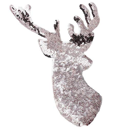 Barcarine Large Gold Sequins Christmas Deer Stickerei Kleidung Patch Applique Fabric Stickers Badges for Clothes Nähen(None Silver 2, Single - Silver Fox Kostüm