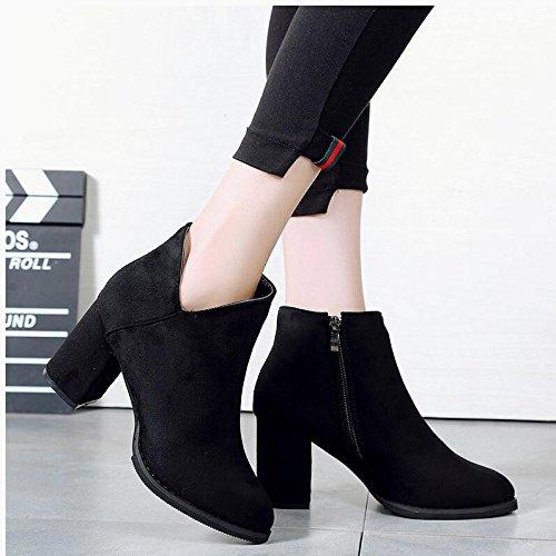 KHSKX-Chaussures Avec Embout High-Heeled Gras Martin Boots Black Canon Court Le Printemps Et LAutomne Et Les Bottes DHiver Bottes Bottes Unique Nu Matt 38