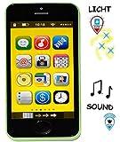 Smartphone - Handy mit 40 SOUND´s & Musik & Licht - ' GRÜN ' - für Kinder / Jungen & Mädchen - Auto - elektrisches Kinderhandy - Telefon - Lernhandy / Kindertelefon - Spielzeug Spielzeughandy / Spielzeugtelefon - Melody - Flip Top - Babyhandy - Baby - Spielzeugsmartphone - Sound - Tablet