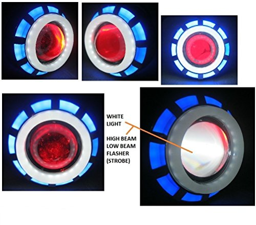 allextreme original projector lamp high intensity led headlight lens projector (high beam, low beam, flasher function) for - all bikes (blue & white) AllExtreme Original Projector Lamp High Intensity Led headlight Lens projector (High beam, Low Beam, Flasher function) For – All Bikes (Blue & White) 51tmOpMLB5L
