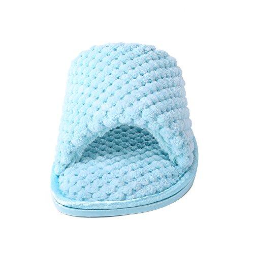 William & Kate Donna Open Toe Memory Foam Carino Ananas Reticolo Bowknot Modello Slipper Blu See1