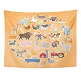 AOCCK Wandteppiche, Tapestry Wall Hanging Funny Farm Collection Farmer Dog Barn Cow Sheep Donkey Pig Chicken Rooster Duck 60' x 80' Home Decor Art Tapestries for Bedroom Living Room Dorm Apartment