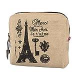 Portable Porte-Monnaie Paris rétro de Clé en Mini-Sac, QinMM à Main Dame Sac à Main en Toile (Kaki)