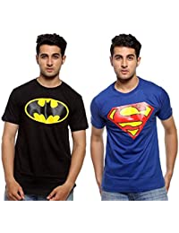 Smartees Blue And Black Color Casual Wear Cotton Half Sleeve Tshirt For Men Combo Pack Of 2 ( Superman & Batman )