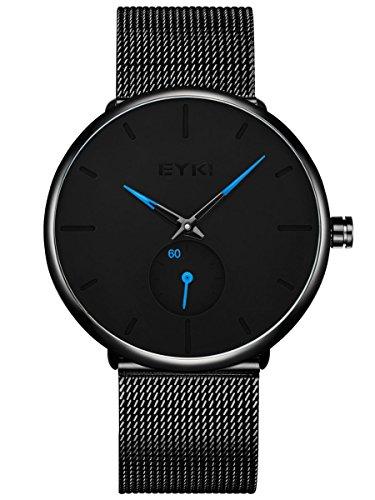 Alienwork Quarz Armbanduhr Ultra-flach Uhr Herren Uhren Damen Zeitloses Design Metall schwarz YH.D5003L-01