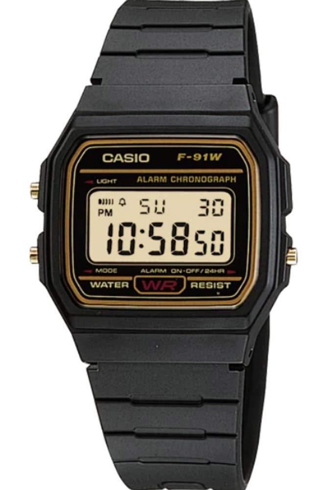 CASIO Mens Digital Watch with Resin Strap F-91WG-9QEF