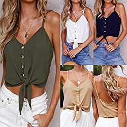 Wawer Women's Vest Tops, Summer Short Sleeveless Mini Strappy Tank,Sexy Backless V Neck Button Crop Tops Tank Blouse Tee T-Shirt for/Daily/Party/Daily/Beach,S-XL by Wawer