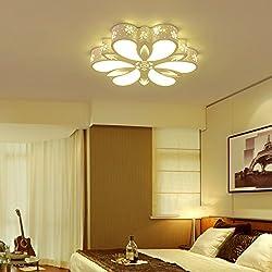 Lilamins Luz de techo Led creativas minimalista moderno Matrimonio con Control Remoto habitación elegante Floral las lámparas para la Sala de estar, baño, dormitorio y comedor,Led Luces de techo, diámetro medio 62cm+48 W+ Luz Blanca