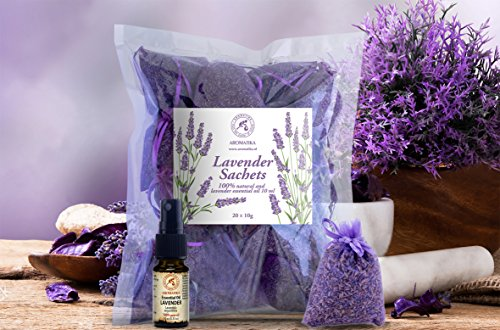 Lavender in Dry Flowers 10 Pouches of 20 grams & Essential Oil Lavender 10ml Puro & Natural - Lavender French Pouches - Gift Set Fragrance Lavender - Scented Sachets