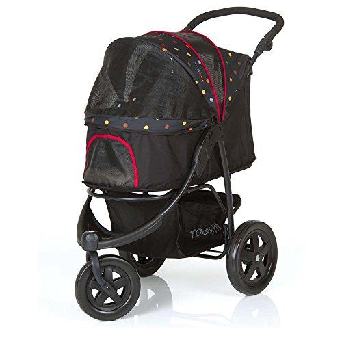 TOGfit Pet Roadster - Lujoso carrito para perros y mascotas hasta 32 kg, Ruedas grandes, altura regulable, incl. colchón, pequeño y plegable, color negro con puntitos