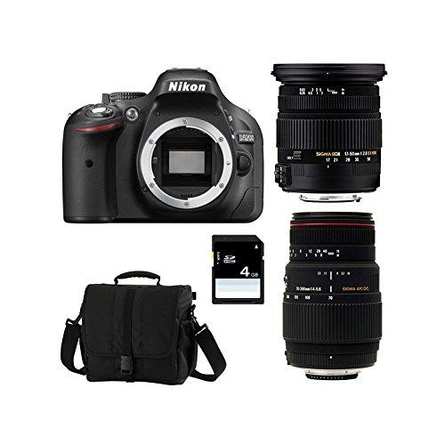 Nikon D5200+ SIGMA 17–50DC OS HSM + SIGMA 70–300DG APO Makro + SD 4GB KIT D Kamera SLR 24.1MP CMOS 6000x 4000pixels schwarz–Digitalkameras (24,1MP, 6000x 4000Pixel, CMOS, Full HD, 505g, schwarz) (Nikon Makro-blitz)