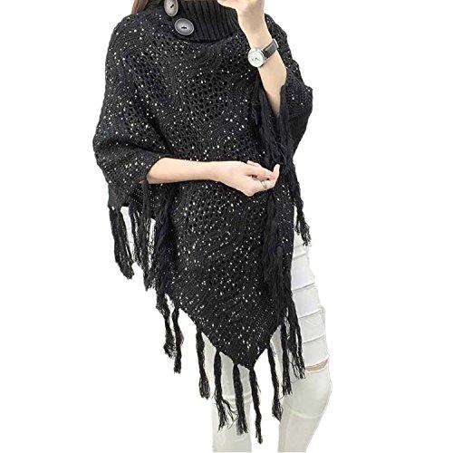 Capezzolo con cappuccio da donna QQI con orlo a frange, motivo lavorato a maglia all'uncinetto per donne Nero