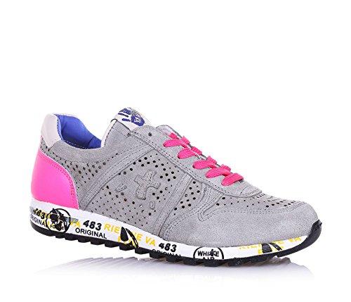 PREMIATA PREMIATA - Grauer Schuh mit Schnürsenkeln, aus Wildleder, durchgebohrt, auf der Zunge ein Logo, Mädchen, Damen-30