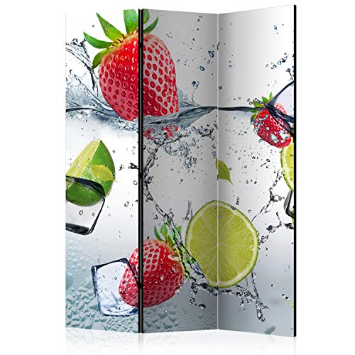 murando - Biombo con Tablero de Corcho - Fresa 135x172 cm - de impresión Bilateral en el Lienzo de TNT 100% Opaco - Biombo Decorativo para Interiores - Agua Refresco j-B-0045-z-b