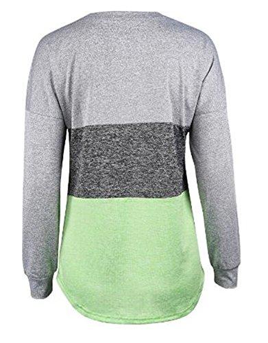 AILIENT Camicia Donna Elegante Maglietta Girocollo Manica Lunga Maniche Maglia Camicie T Shirt Moda Casual Blouse Tops Green