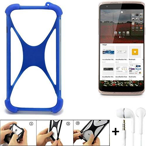 K-S-Trade Bumper ZTE Axon Mini Premium Edition Schutzhülle Handyhülle Silikon Schutz Hülle Cover Case Silikoncase Silikonbumper TPU Softcase Smartphone, Blau (1x), Headphones