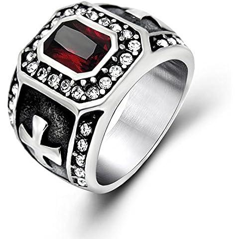 Joyas para hombre de titanio incrustaciones de ángel gótico de la vendimia de la banda de acero anillo con Zircon cúbico