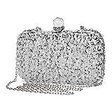 Abendtasche Damen Diamant Clutch Bag Kette Shiny Strass Handtasche Umhängetasche für Hochzeit Party - Silber