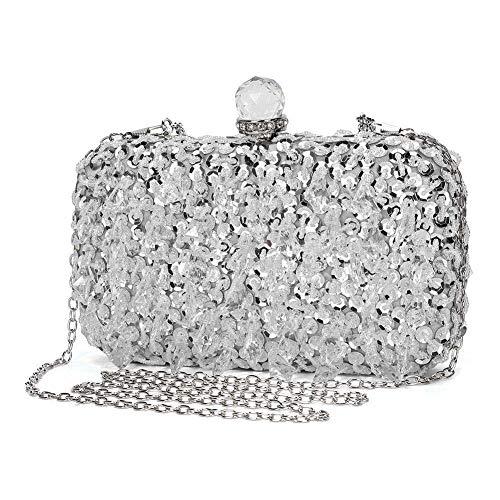 amant Clutch Bag Kette Shiny Strass Handtasche Umhängetasche für Hochzeit Party - Silber ()